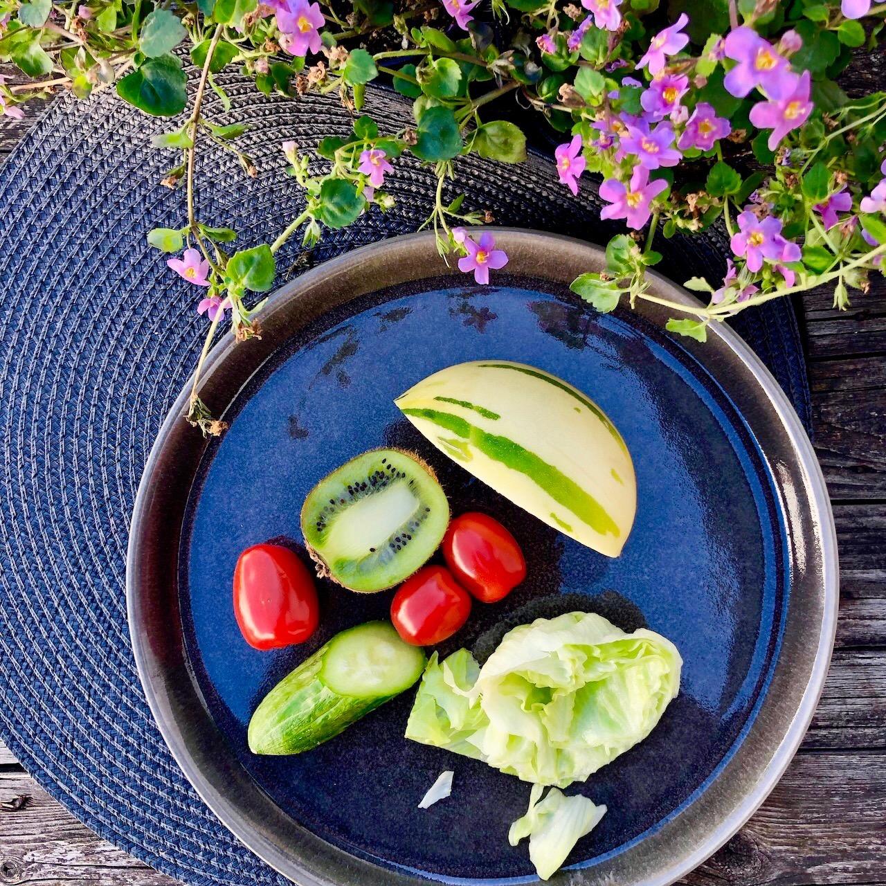 Melão - Salada de Folhas - Tomate - Kiwi - Pepino