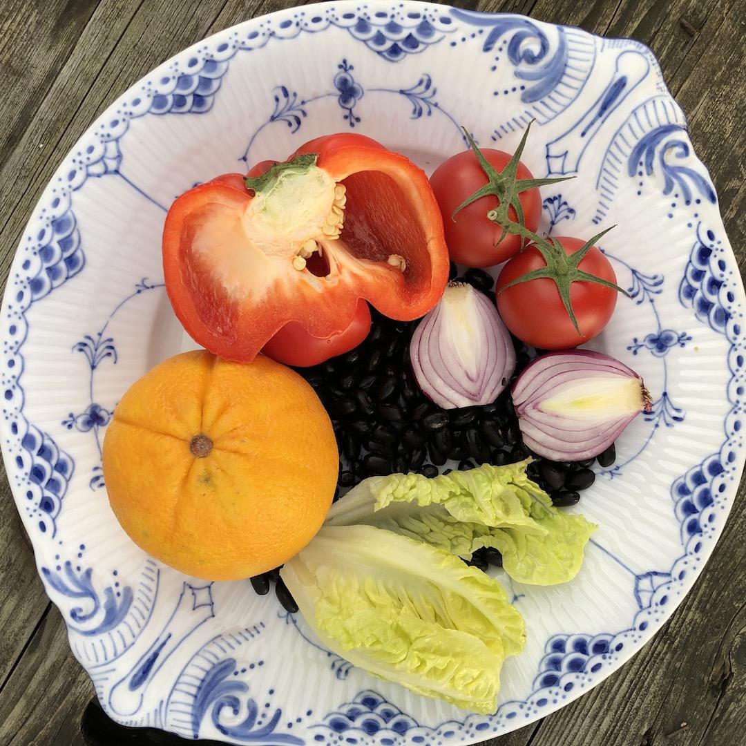 Feijão preto - Laranja - Tomate - Pimenta vermelha - Cebola - Salada de folhas