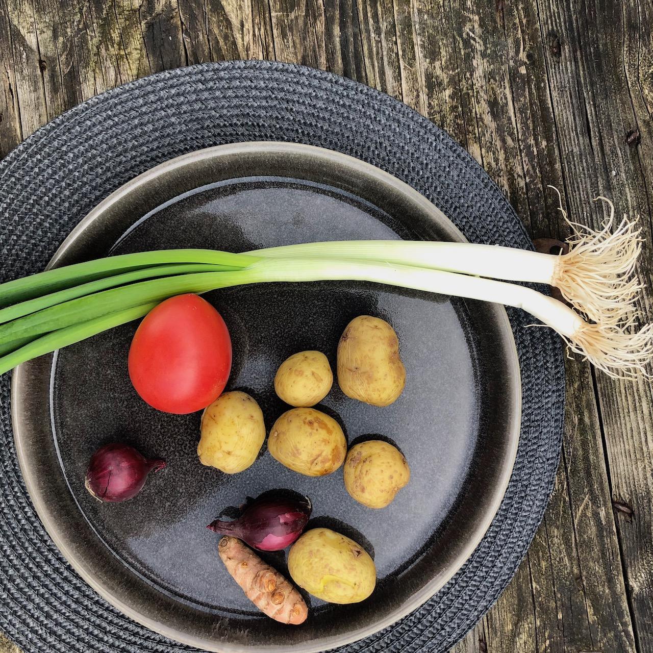 Batata - Cebolinha - Tomate - Cebola - Cúrcuma
