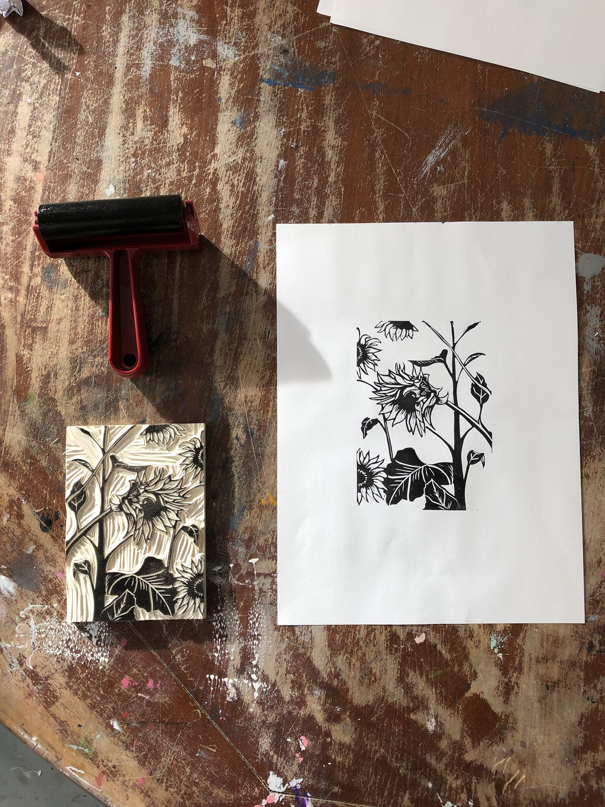 Final print with brayer and EZ cut block