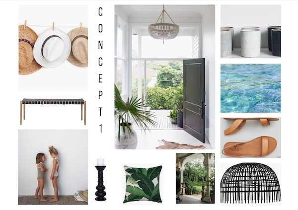 A tropical mood board evolves that emanates barefoot luxury.