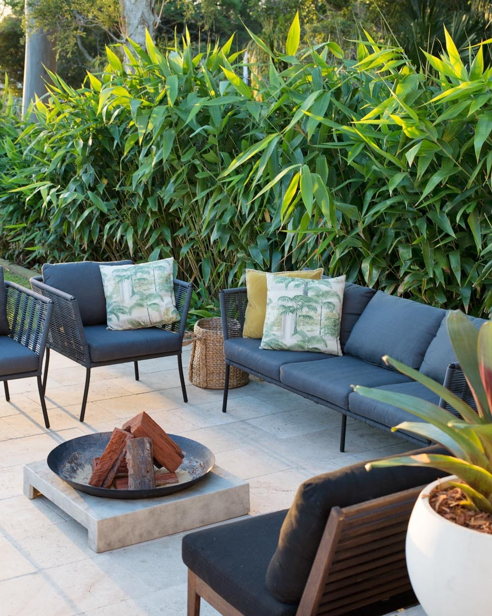 A wall of greenery provides a stunning backdrop in the outdoor entertaining zone at the  Hunter Street Project .