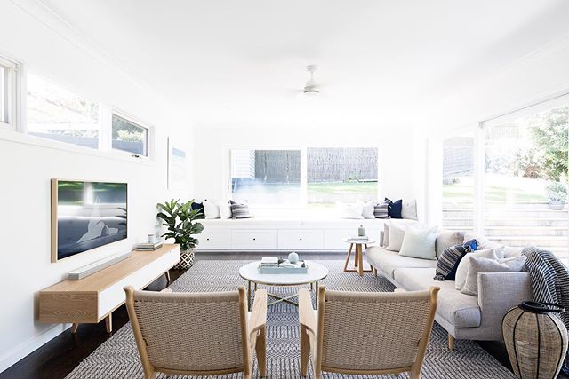 The family room at the #corambastproject - bright, breezy, textured and tonal. The perfect casual-chic setting for weekend relaxation. ⭐️ . 📷 by @simonwhitbreadphoto, Interiors by @heliconia.com.au . #livingroom #familyroom #loungeroom #sofa #rug #homeinspo #interiors #interiorstyling #homedesign #coastal #coastalstyling #coastalliving #coastalstyle #coastalhome #texture #interiordesign #homedecor #coastaldecor #interiordecor #familyhome #dreamhome #renovation