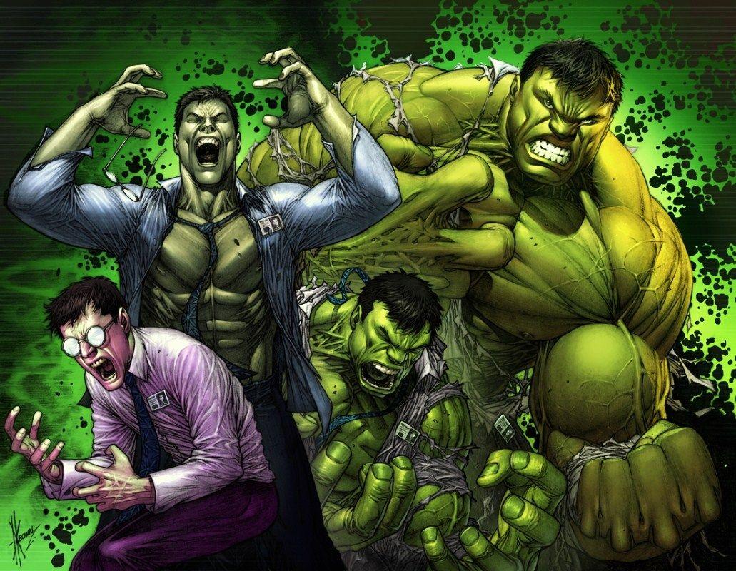 Push chuẩn bị biến đổi từ Bruce Banner thành...  Bức hình được mượn từ Dale Keown (Marvel Comics)