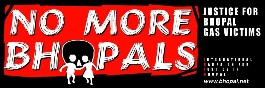 Against a red background 'No More Bhopals' is written in large white paint strokes, to line figures in white stand before the 'O' in Bhopal which is black and their heads form what appears to be a skull. The right side of the image reads: Justice For Bhopal Gas Victims, www.bhopal.net.