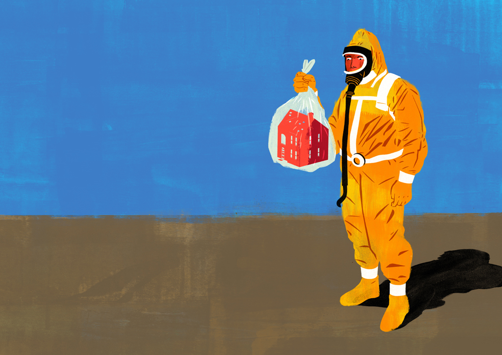 Image description: person in full-face respirator and hazmat suit holds a small house in a plastic garbage bag. Image credit: Discovery Magazine.