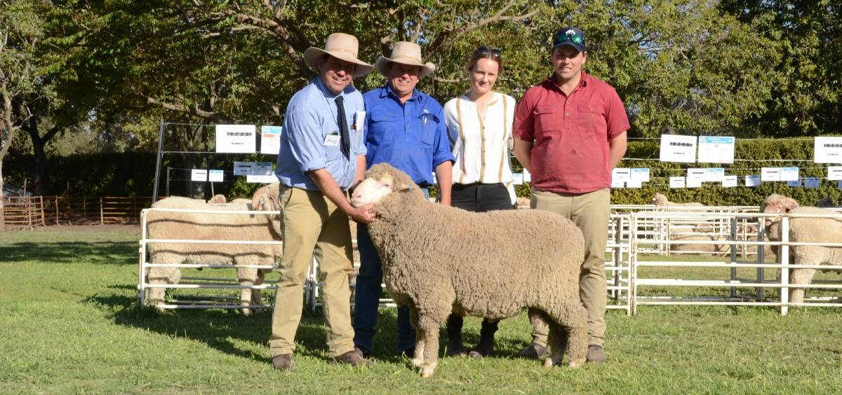 Western Australian breeders Ernie Jaekel and family, Tarbunkenup stud, Ongerup, secured four Poll rams including the $5500 top-priced poll. Pictured with their $5000 buy is HR stud manager, Andy Maclean, Tarbunkenuo classer Paul Kelly, Quirindi, and buyers Emily Jaekel and Michael Long.