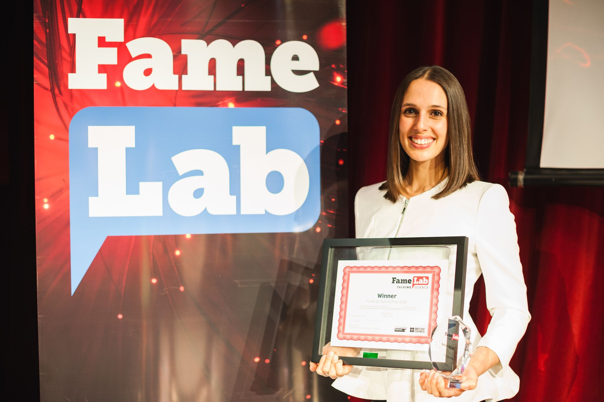 Winner of the Australian National FameLab final, Perth, Western Australia.
