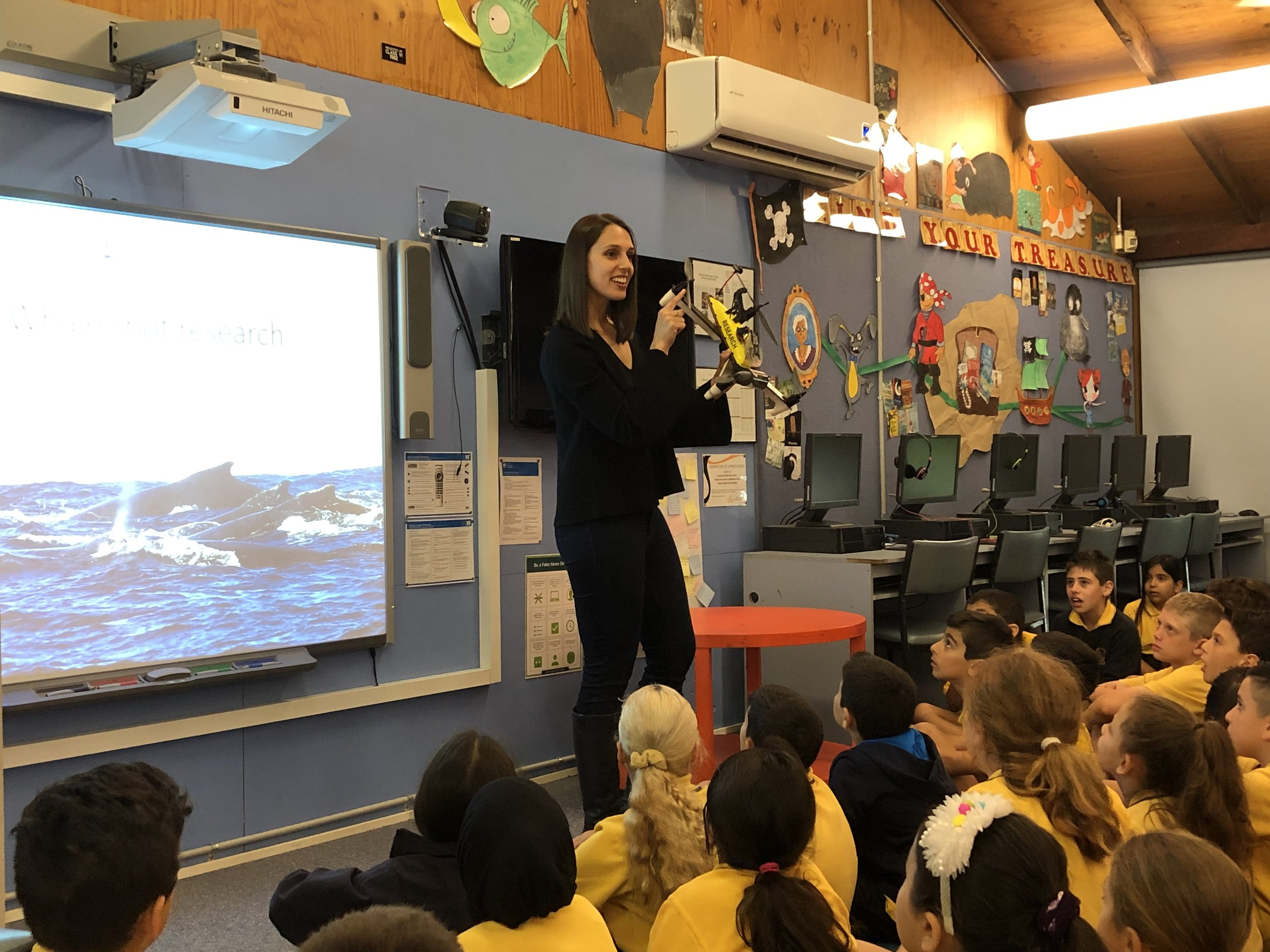 Talking drones, whale snot and was asked about whale reproduction to years 3-6 at McCallums Hill Public School, Sydney.