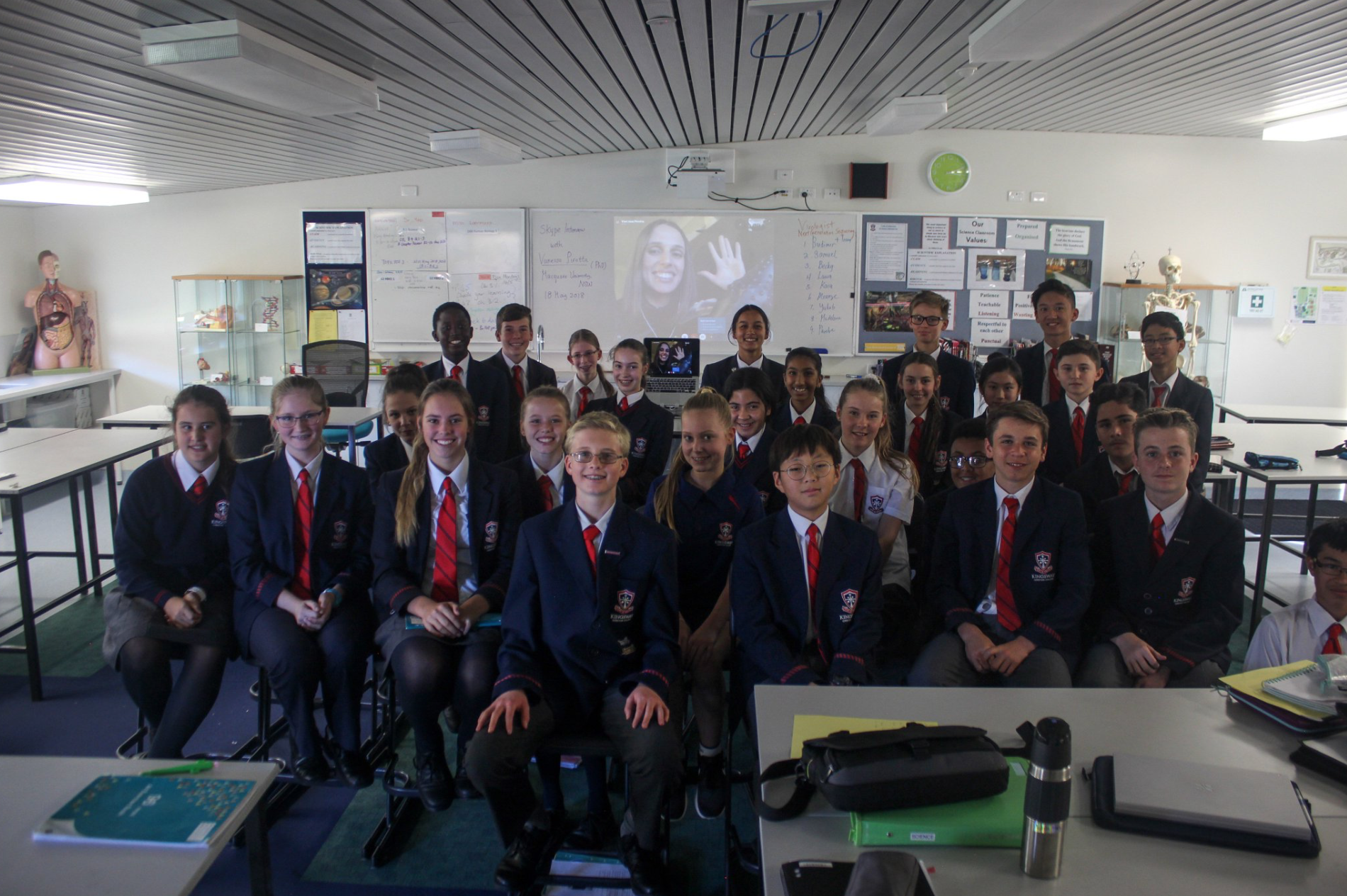 Skype-A-Scientist - Skype with year 8, Kingsway Christian College Perth, Western Australia.