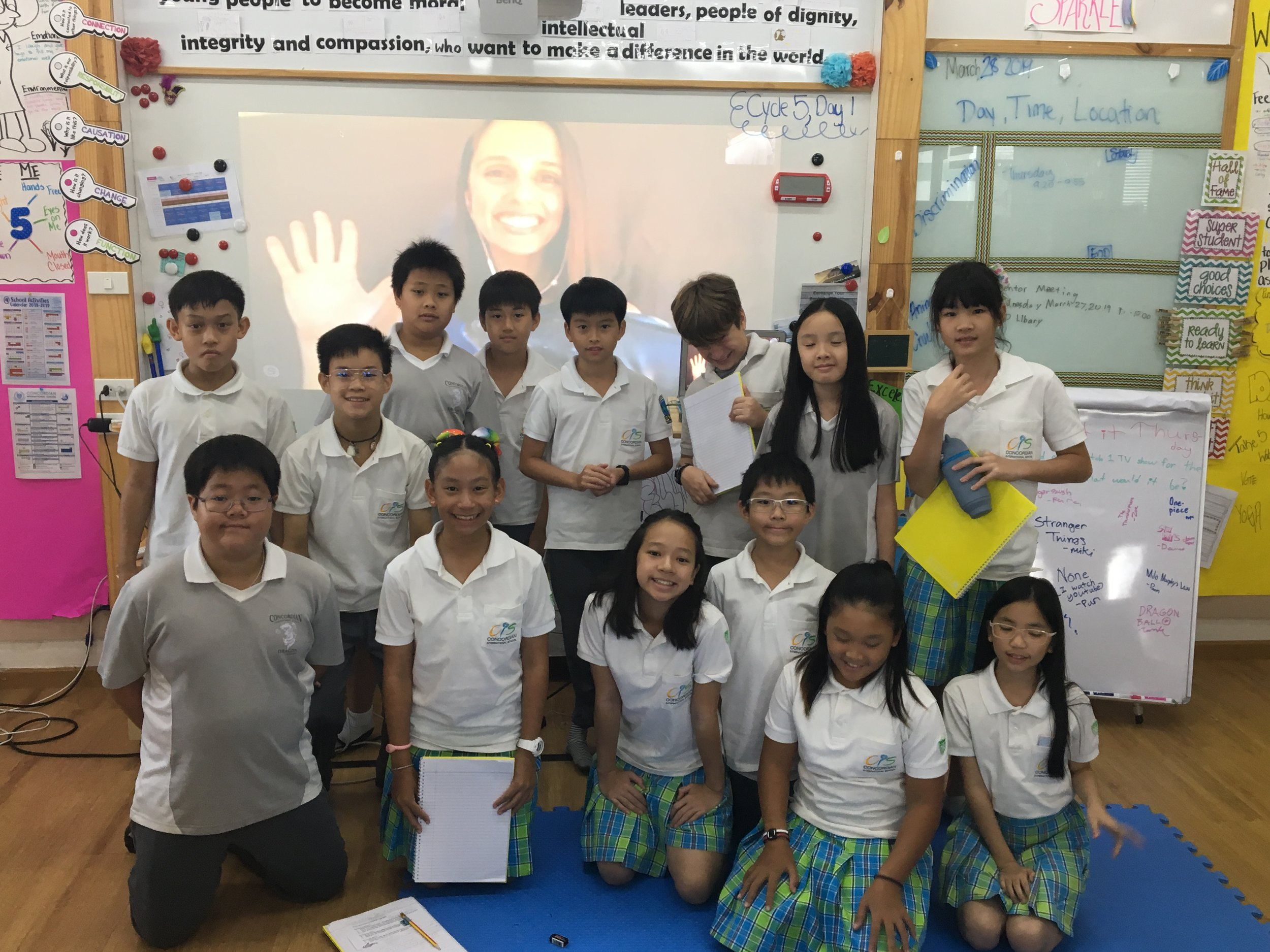 Skype-A-Scientist - Skype with grade 5 at Concordian International School in Bangkok, Thailand. Vanessa spoke all about ocean pollution with the students.