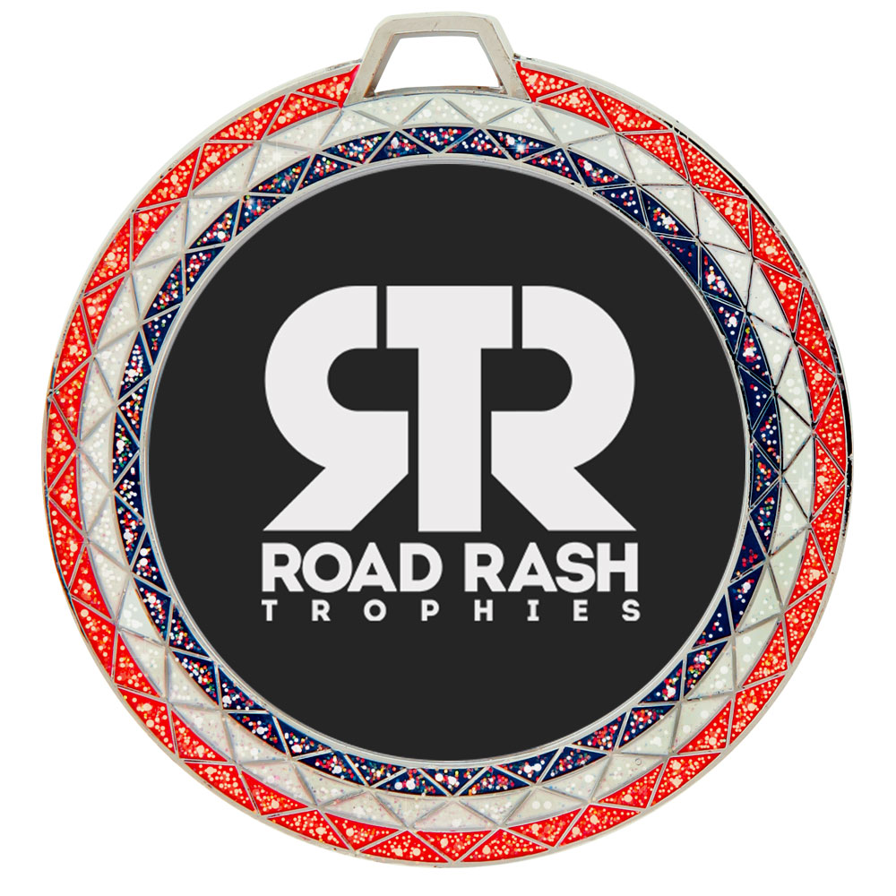 Name:  RWB Glitter  Size:  2 3/4 Inches  Colors:  Red, White and Blue
