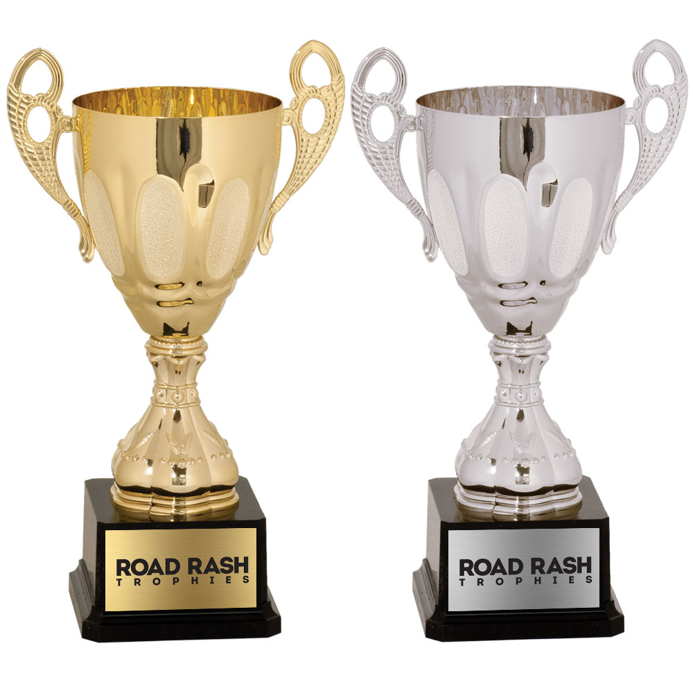 Name: 700 Series Metal Cup With Plastic Riser and Weighted Black Plastic Base.  Size/Price: 11″ – $35.99  Size/Price: 13″ – $44.99  Size/Price: 14″ – $59.99  Size/Price: 15 3/4″ – $66.99  Size/Price: 17 1/2″ – $77.99  Colors: Gold / Silver