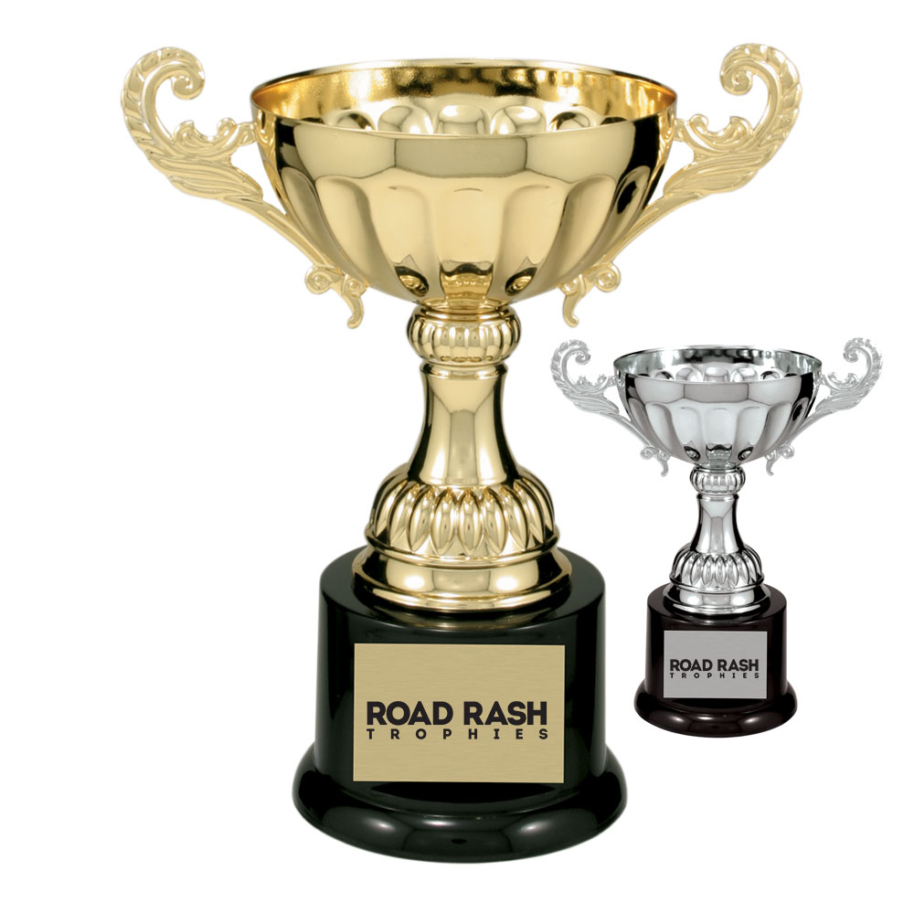 Name: 100 Series Metal Cup With Plastic Riser and Round Weighted Black Plastic Base.  Size/Price: 6 1/2″ – $13.99  Size/Price: 7 3/8″ – $17.99  Size/Price: 8 1/2″ – $22.99  Size/Price: 9 3/4″ – $25.99  Colors: Gold / Silver