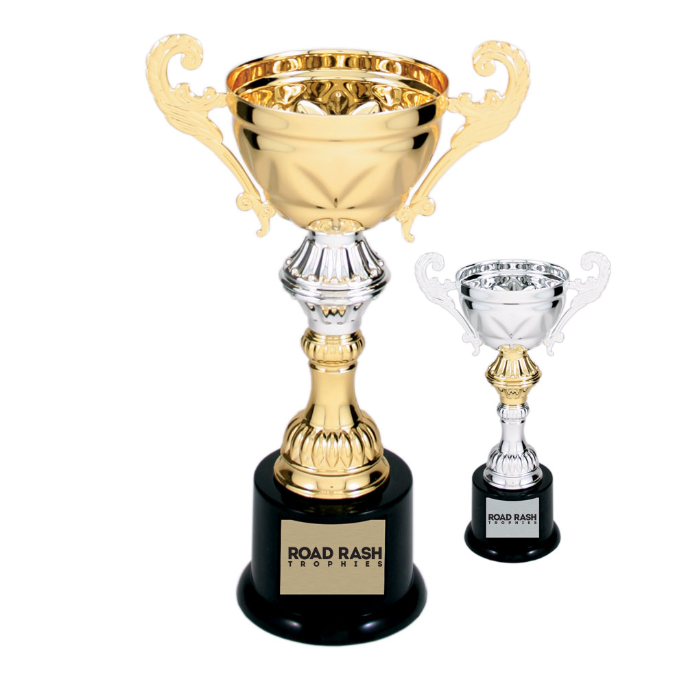 Name: 200 Series – Plastic Base Metal Cup With Plastic Riser and Round Weighted Black Plastic Base.  Size/Price: 8 3/4″ – $16.99  Size/Price: 10″ – $18.99  Size/Price: 11 1/2″ – $24.99  Size/Price: 13″ – $29.99  Size/Price: 14 1/2″ – $35.99  Colors: Gold / Silver