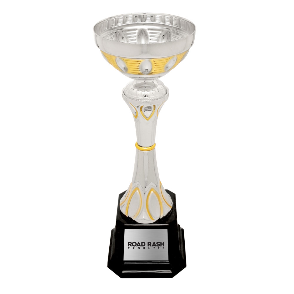 Name: 290 Series – Plastic Base Metal Cup With Plastic Riser and Weighted Black Plastic Base.  Size/Price: 9 3/4″ – $10.99  Size/Price: 10 3/4″ – $12.99  Size/Price: 12″ – $14.99  Size/Price: 13 1/2″ – $19.99  Size/Price: 15″ – $22.99  Size/Price: 16 1/2″ – $27.99  Colors: Gold Silver Mixed