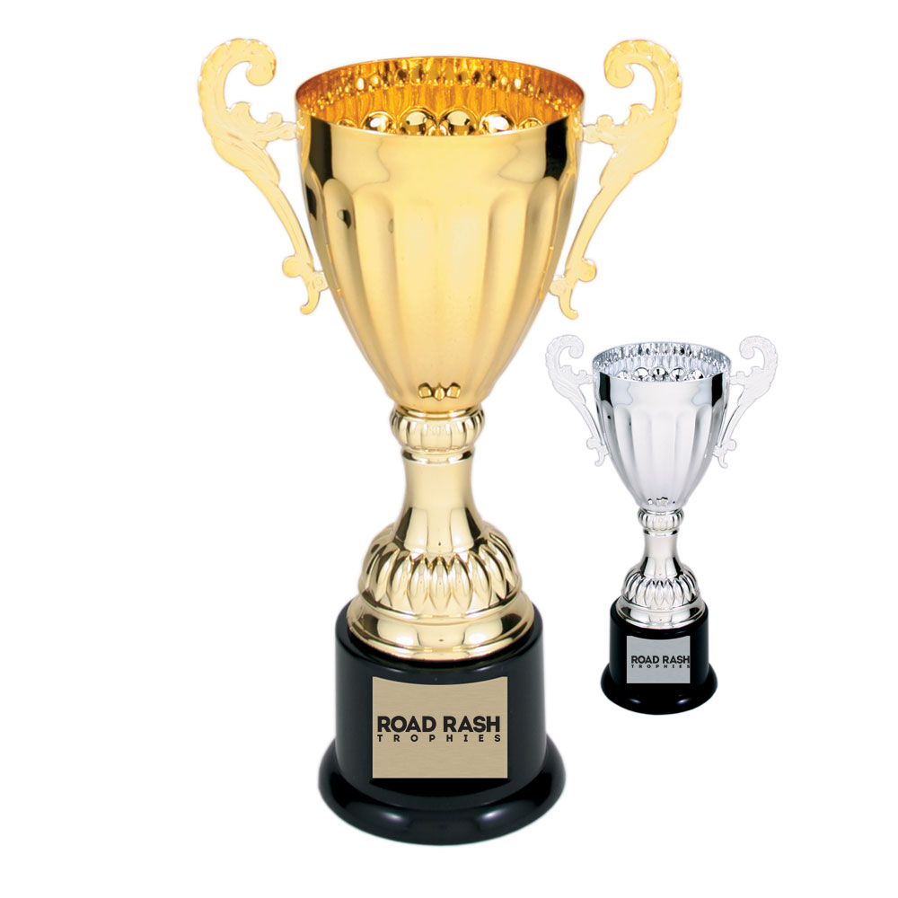 Name: 300 Series – Plastic Base Metal Cup With Plastic Riser and Round Weighted Black Plastic Base.  Size/Price: 8 3/4″ – $22.99  Size/Price: 9 3/4″ – $27.99  Size/Price: 12″ – $34.99  Size/Price: 13 1/4″ – $42.99  Size/Price: 14 1/2″ – $48.99  Colors: Gold / Silver