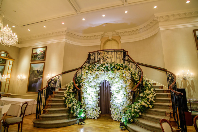 60th Celebration in Meadow Garden staircase