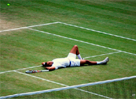 I give up. - by Kate, cc-by-sa some rights reserved.Day 11 of Wimbledon 2011: Jo-Wilfried Tsonga during his semi-final withNovak Djokovic, who won this 7-6, 6-2, 6-7, 6-3.Cropped, remixed by Deborah Hartmann Preuss.