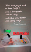 """Baby vs. Bathwater Annotated - Visual image for """"Don't throw out the baby with the bathwater""""a public domain image on wikimedia commons cc-zero no rights reserved.transformed, remixed by Deborah Hartmann Preuss"""