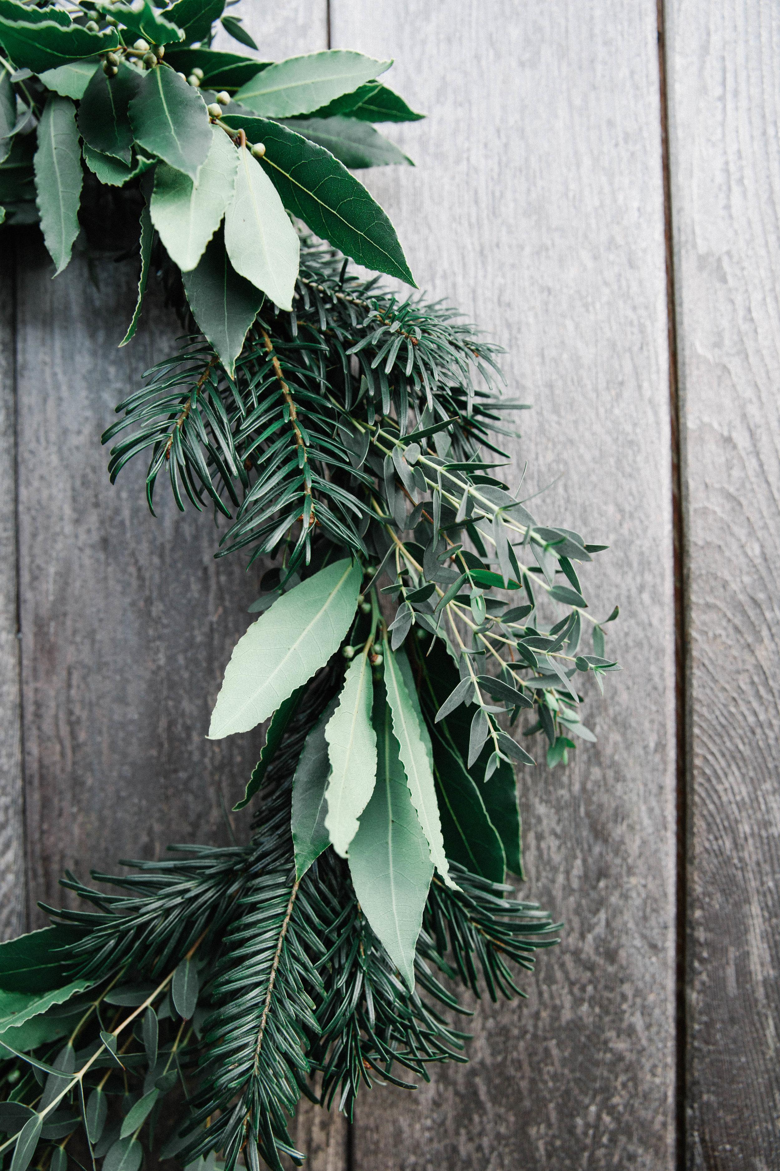 DIY foraged Christmas wreath