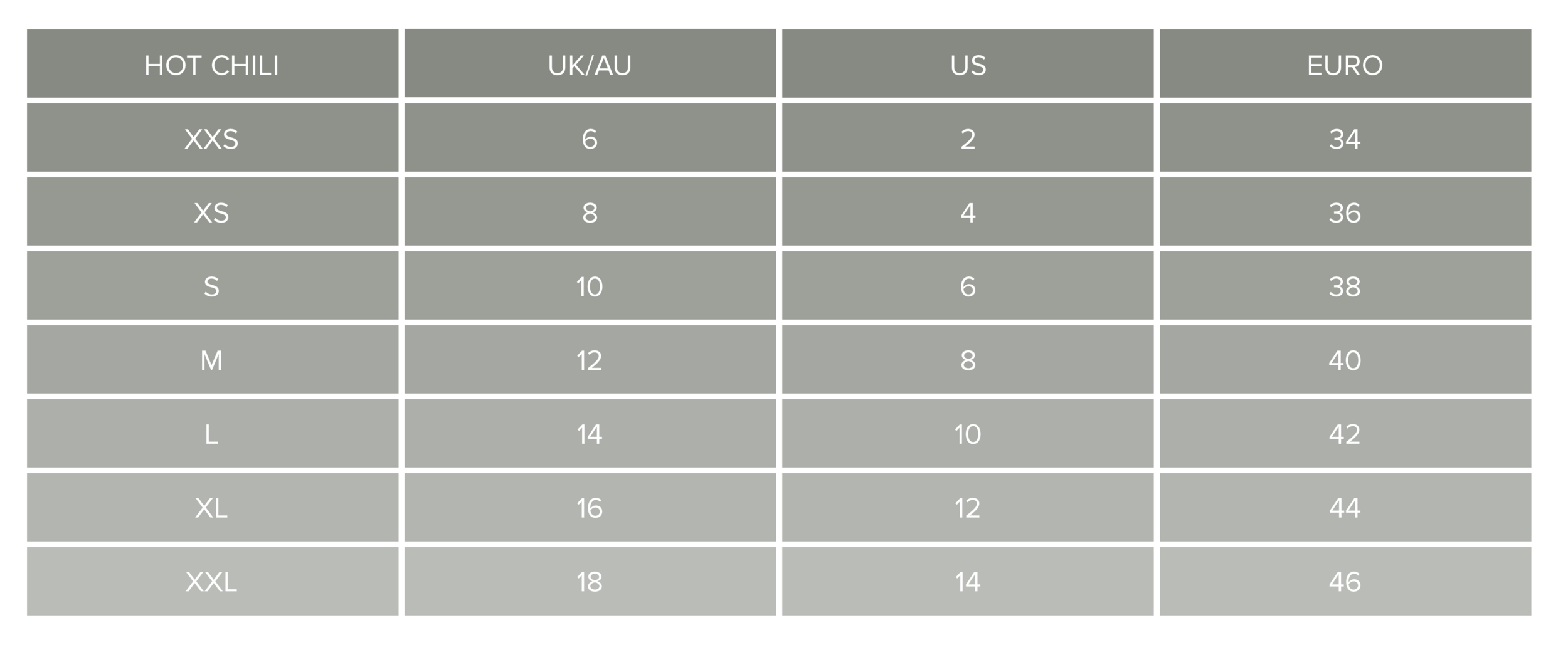 Universal Size Chart