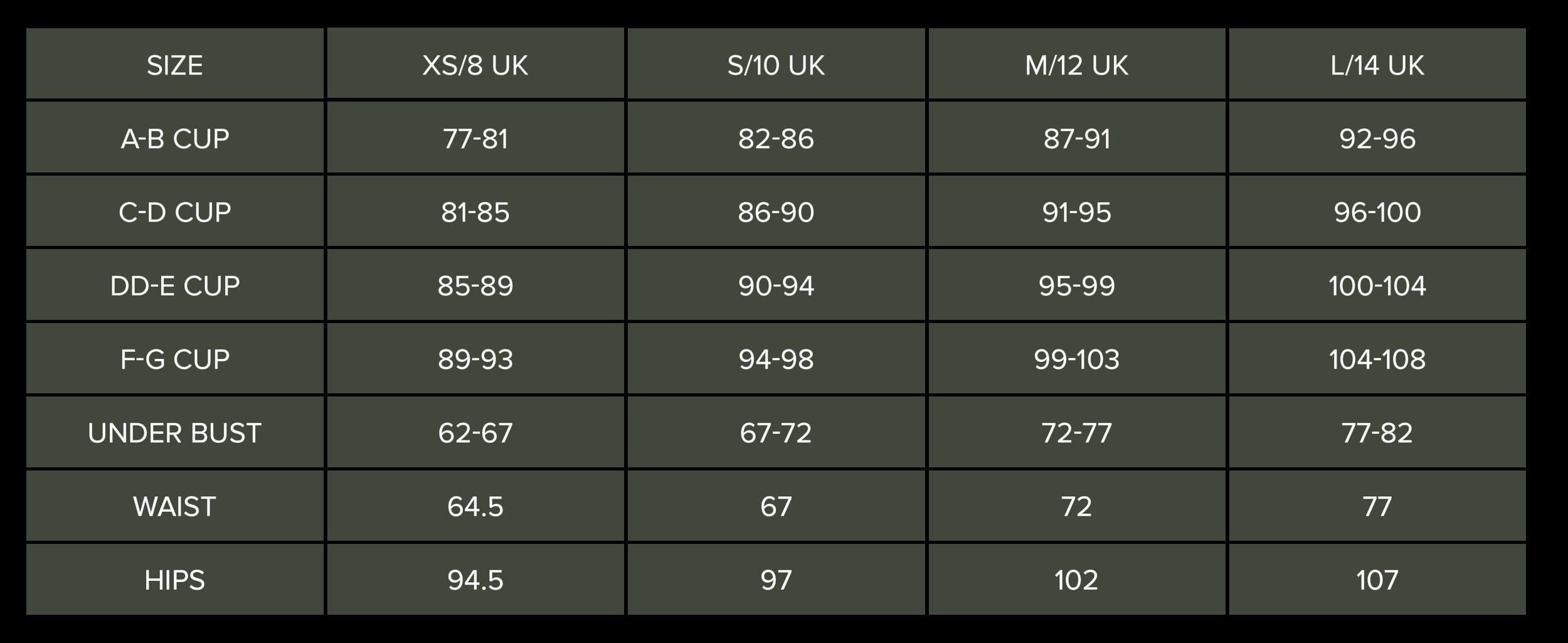 Swimwear Size Chart