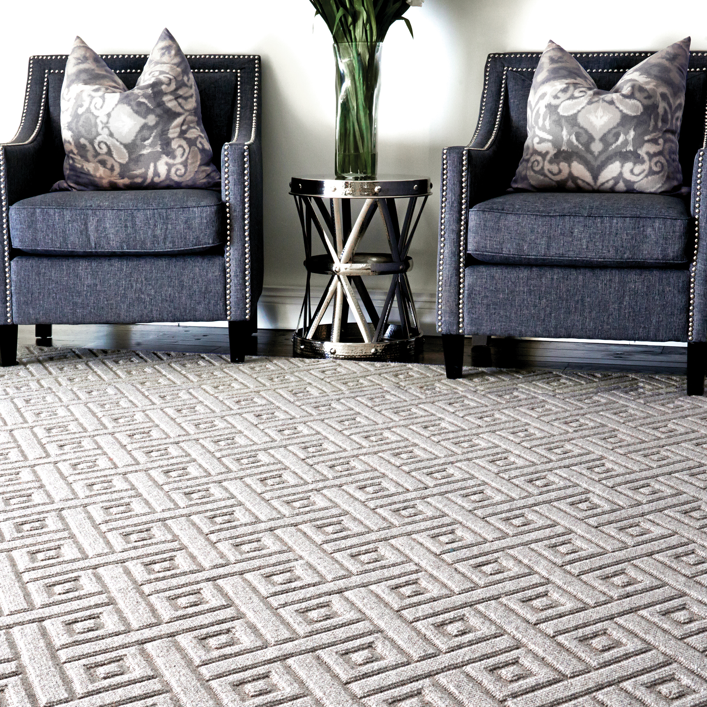 Geometric patterns can be achieved through texture or color. No matter how this look is created, these modern carpets add a beautiful and sophisticated look to your home.