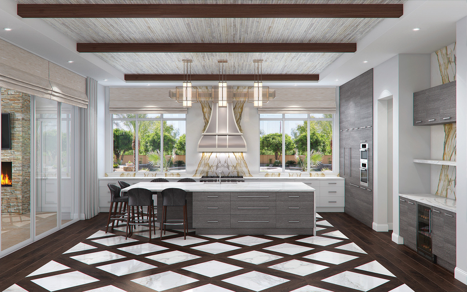 Details like the wood and marble diamond floors and the ceiling details make this photo-real rendering come to life. These designs are used to show clients exactly what their kitchen will look like alleviating the fear of the unknown as we embark on their design process.