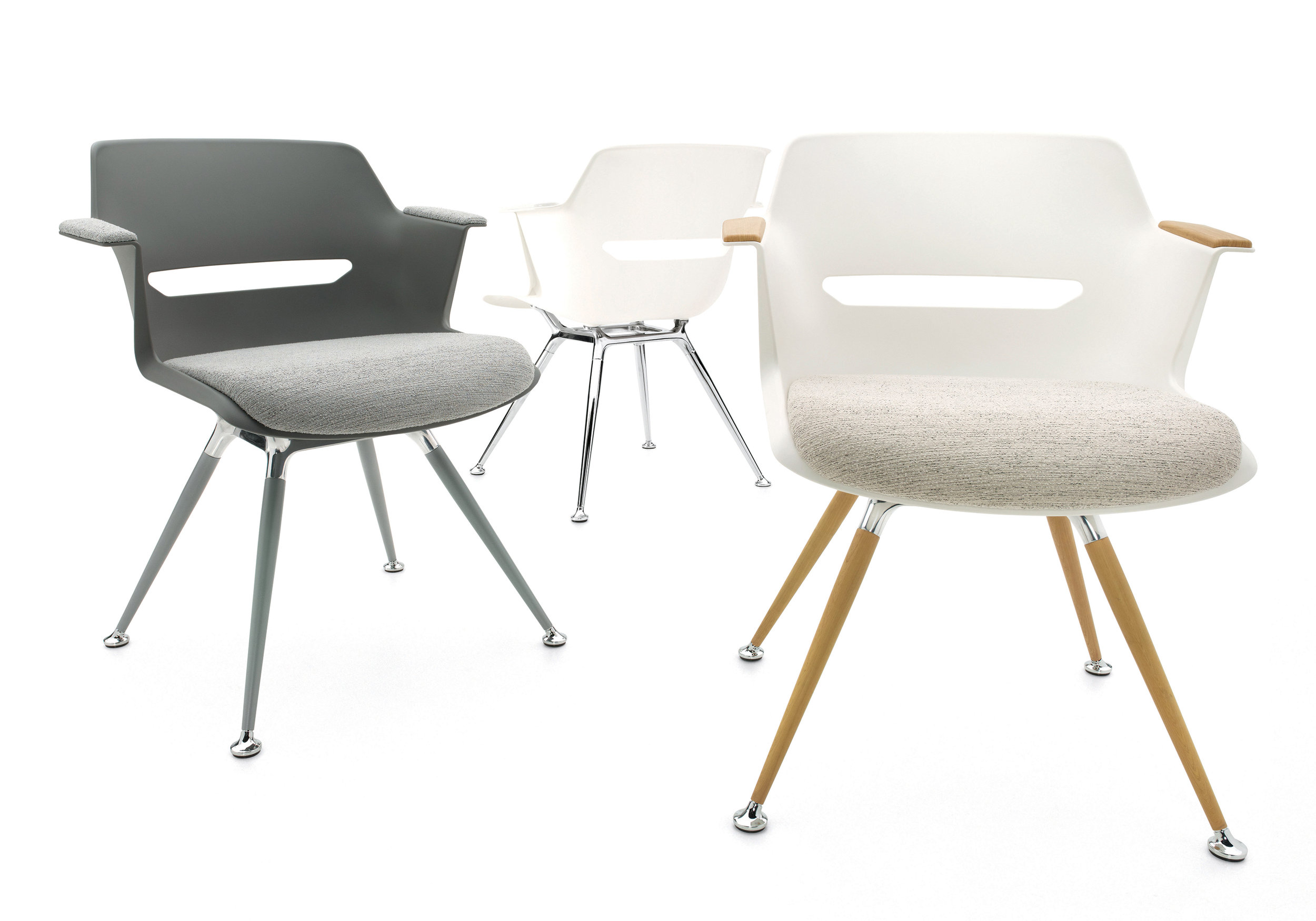 Moda chairs from Global Furniture Group is a fashion-forward seating series designed by Sava Cvek that is perfect for a smaller home office. The polished aluminum frame can be customized with a mix of leg finishes to match your décor.