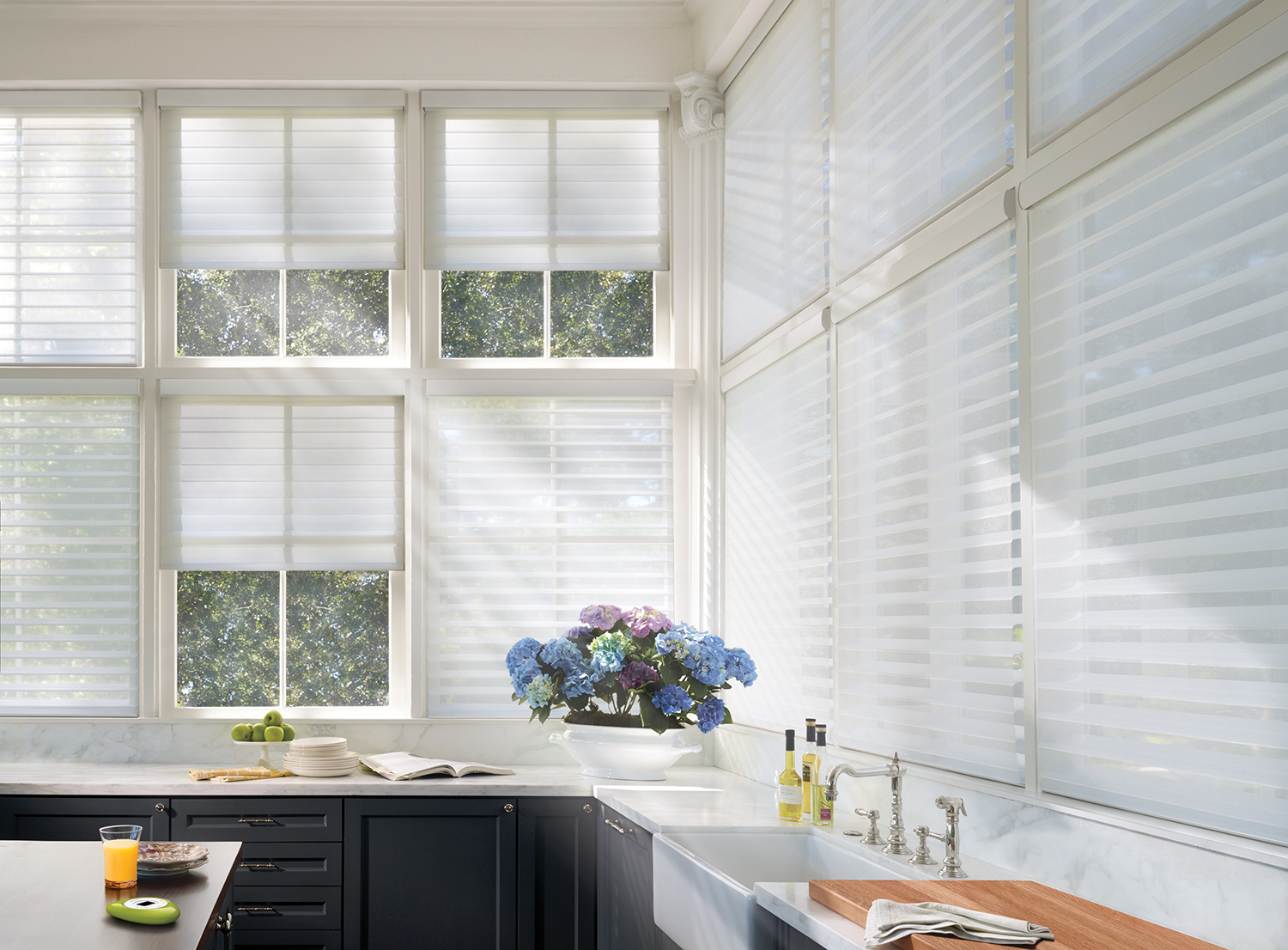Hunter Douglas Motorized Shades are the epitome of high-tech window coverings.