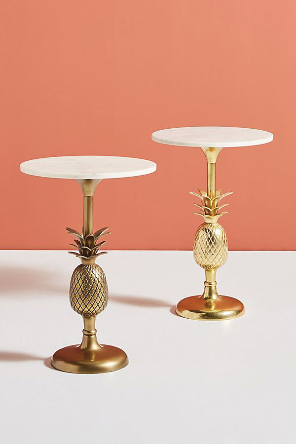 Pineapple Pedestal side table, available in polished or brushed brass, $198;   anthropologie.com