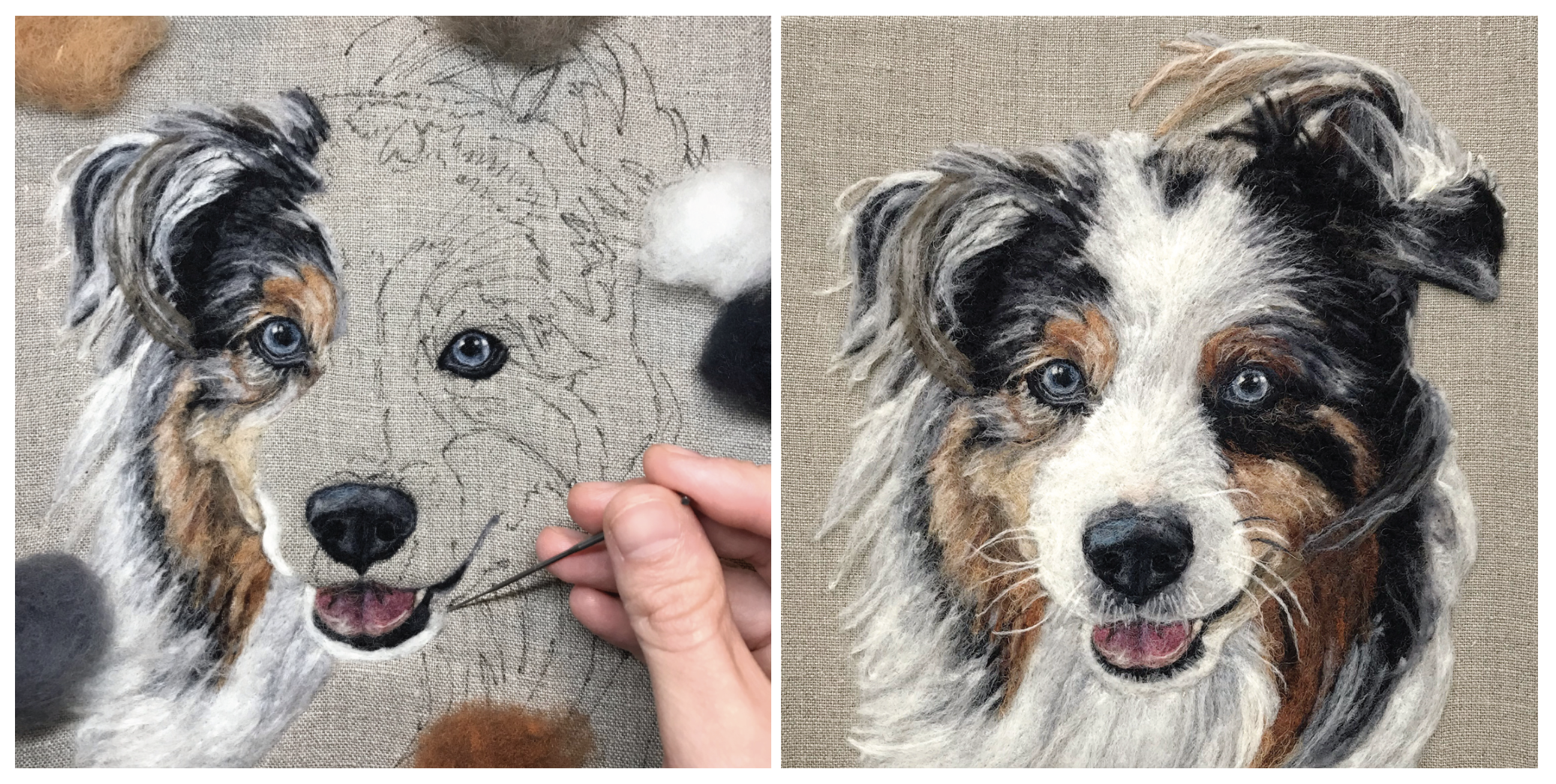Progress shot and completed portrait.
