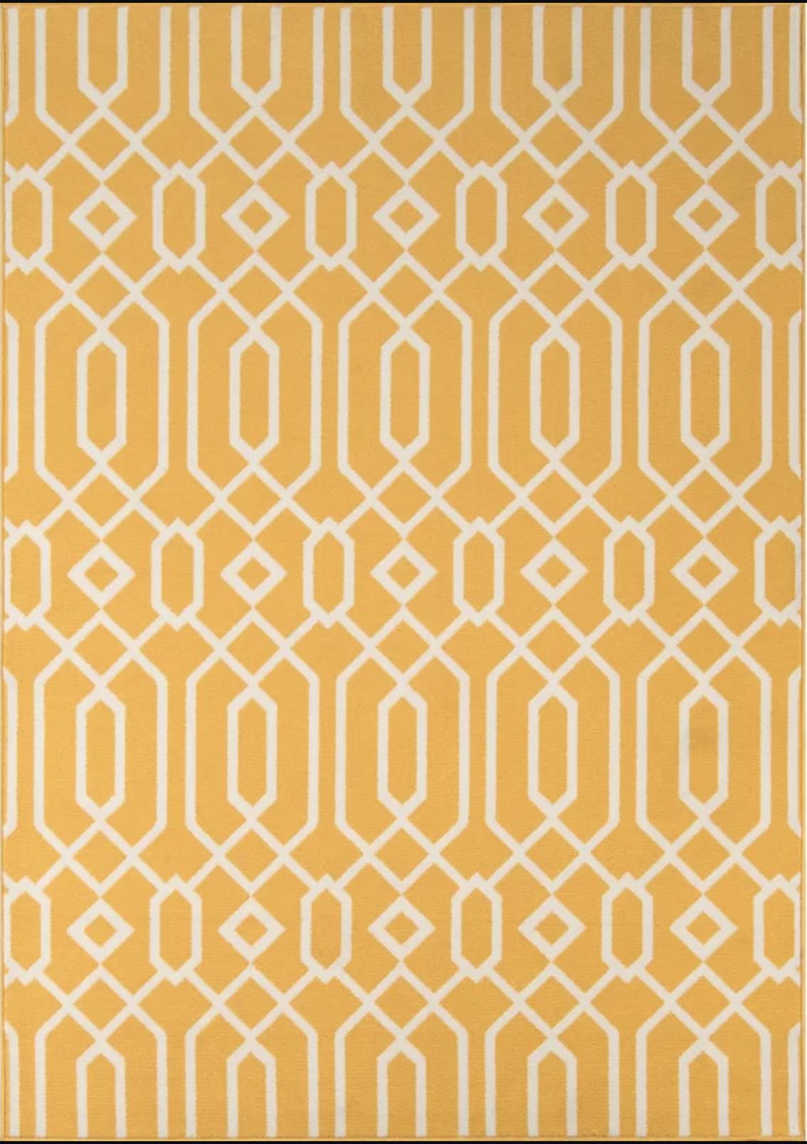 Halliday Yellow Area Rug
