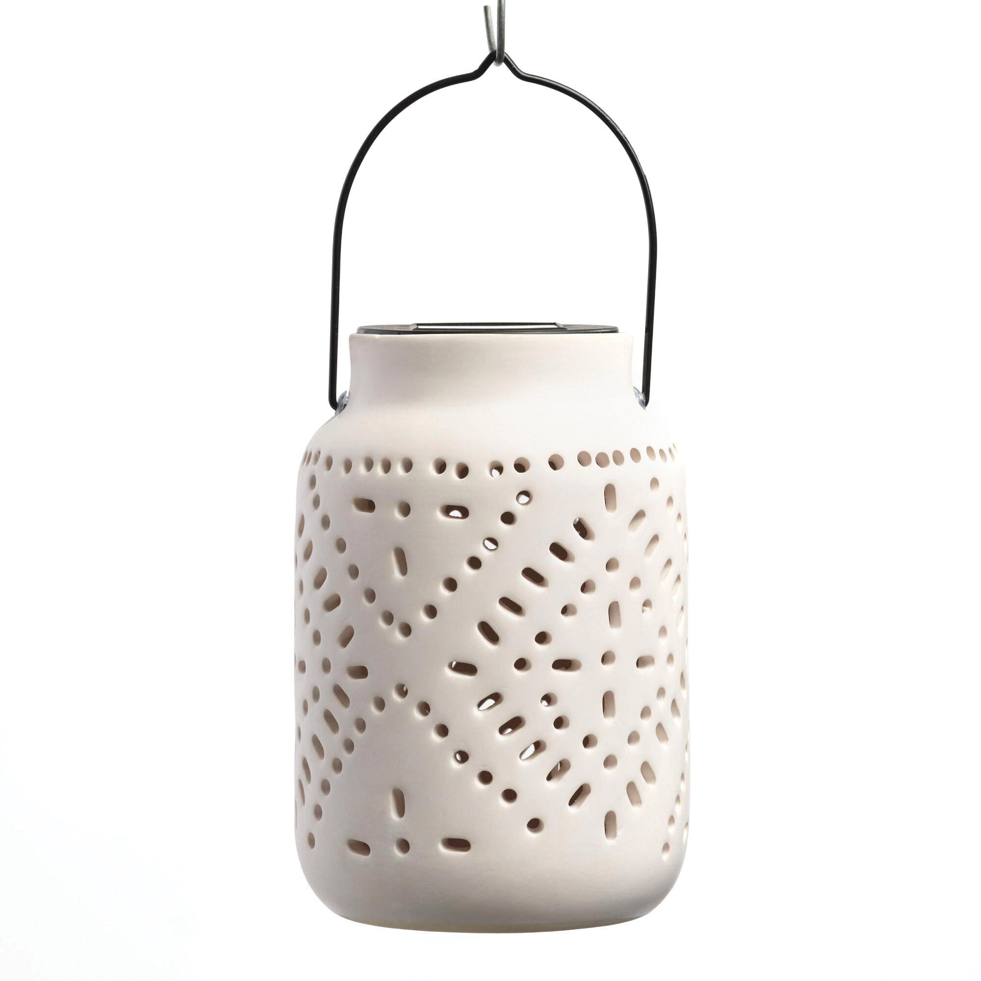 White Ceramic Solar LED Lantern