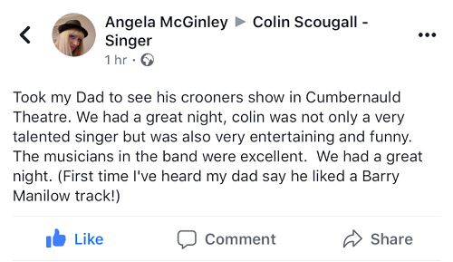 Review - Colin Scougall: Rutherglen Town Hall 21 September 2019  A TRIBUTE TO THE GREAT CROONERS  I hear concert and theatre performers putting on a show in Rutherglen, Scotland, have some trepidation about what they can expect from the audience - staid, conservative sophistication can be a tough nut to crack, but Colin Scougall didn't need to worry about cracking nuts - the average age of this crowd was about 80 years of age.  Colin, 52, came out at 7.30 pm dressed in sparkly gold attire. He was joined by the his 8-piece band - 7 cool looking dudes and one wee lassie, (a broad spectrum of ages). Anyway, they were a tight, accomplished unit - tenor & alto saxophones, trombone, trumpet, keyboards, percussion, electric bass & electric guitar. Their show objective was to deliver some classic crooner songs from the 20th century.  Colin's singing was the highlight - he has a very strong & polished voice - always very well controlled and had some witty repartee between songs. Even a problem with the microphone could not deter him from his mission to entertain the near sellout crowd to classic songs from Great Crooners.  The band seemed happy to be playing so many classic songs for us. It was clear that they were all very familiar with the material, loved it and were big fans. Their enthusiasm invigorated us. They conveyed the songs with earthy professionalism. The guitar work was faultless.  Colin did Sade's 'Smooth Operator' as a special personal treat. It was really well done. A major highlight was a powerfully delivered 'Don't Cry Out Loud'. We were all keen for that one and were not left wanting. Intermission arrived and many fled for a pee, pint & puff.  During the second half of the show song highlights were: 'Sweet Caroline' (which got many of the women folk up dancing), Lionel Ritchie's 'Hello', 'New York State of Mind', 'Can't Take My Eyes Off You' & Frank Sinatra's 'My Way' - performed with great gusto.  At the end of the encore at 10.00 pm those that could in t