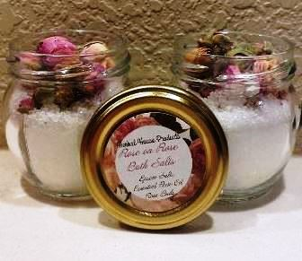 "Rose scented epsom salts and rose buds. What better way is there to say, ""I love you Mom""?"