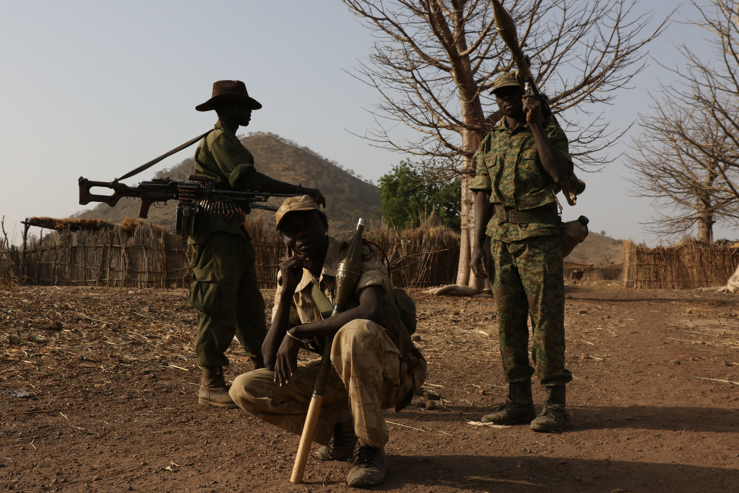 Nuba Rebel soldiers at the front lines