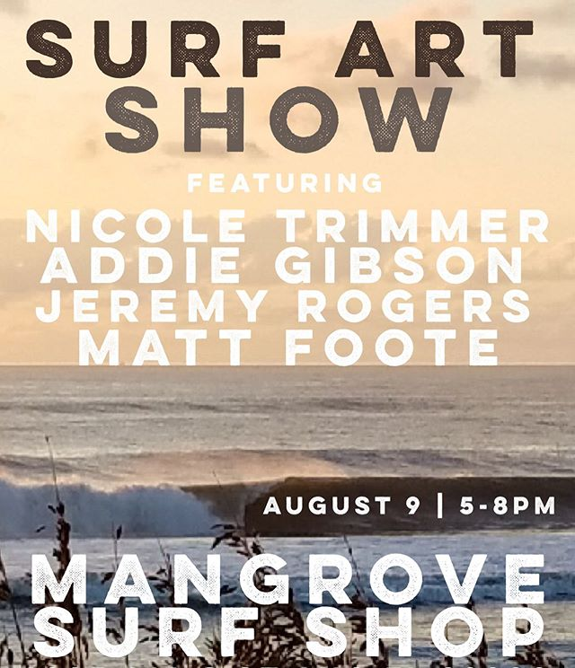Hey folks, we are having a fun event next weekend... Friday night we have some friends coming out to showcase their super rad art! @brunchweener will be shredding some tunes on the deck and there will be cold beverages available. Next weekend everything in the shop will be 30% off (excluding surfboards but they will also be discounted) and ALL SURF CAMP BOARDS WILL BE HEAVILY DISCOUNTED (all used softtops priced super low) and board shorts will be buy one get one for $10.  Come check us out and buy some dang art why don't ya! HOPE EVERYONE SCORED SOME FUN SURF TODAY 🤙🏼