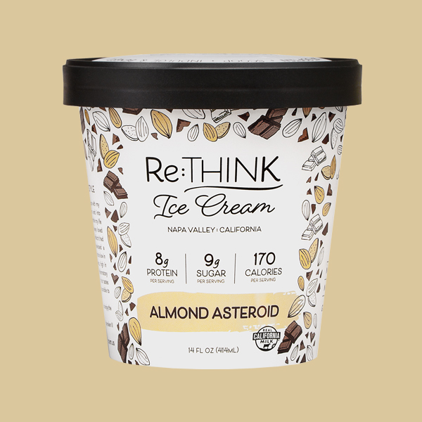 Almond Asteroid - No other scoop in the galaxy compares to this almond ice cream packed with roasted almonds and lots of dark chocolate flakes.
