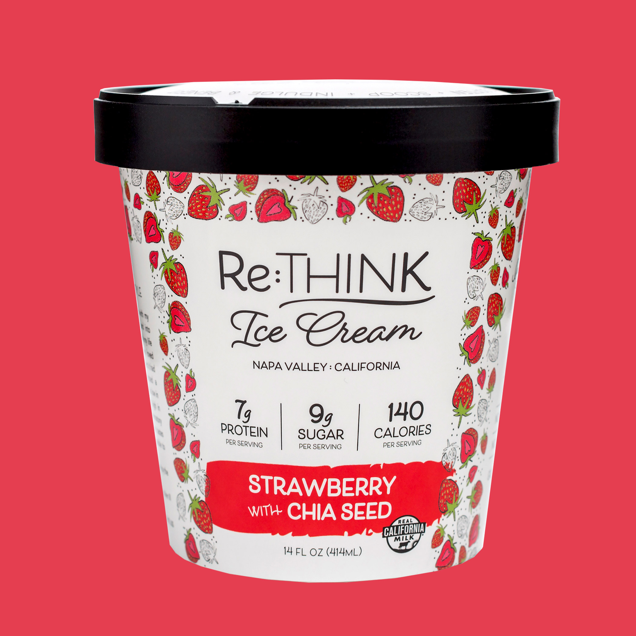 Strawberry Chia Seed - Sweet, juicy strawberry ice cream swirls around fiber-rich chia seeds creating a healthier twist on a classic favorite.
