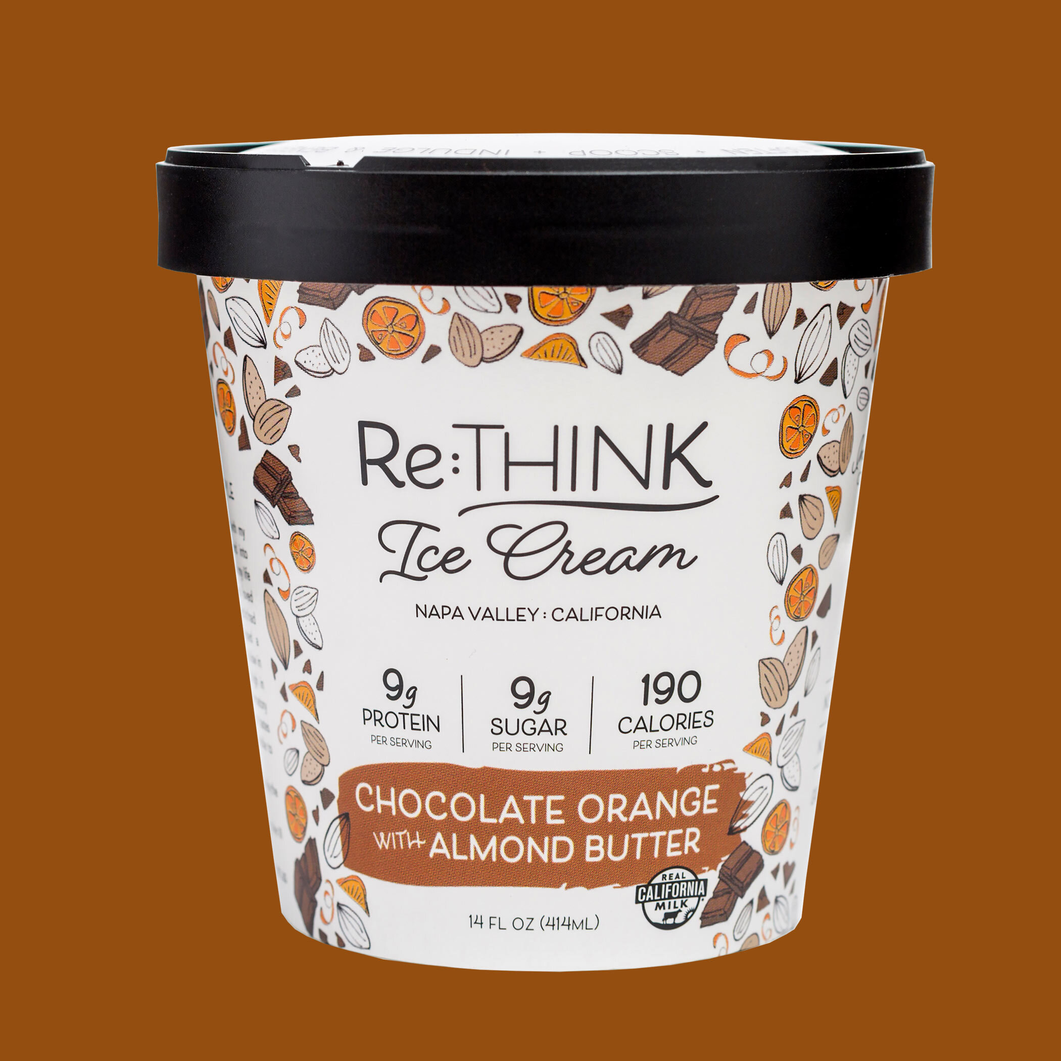 Chocolate Orange with Almond Butter - Featuring decadent chocolate flakes swimming in creamy chocolate-orange ice cream ribboned with almond butter.