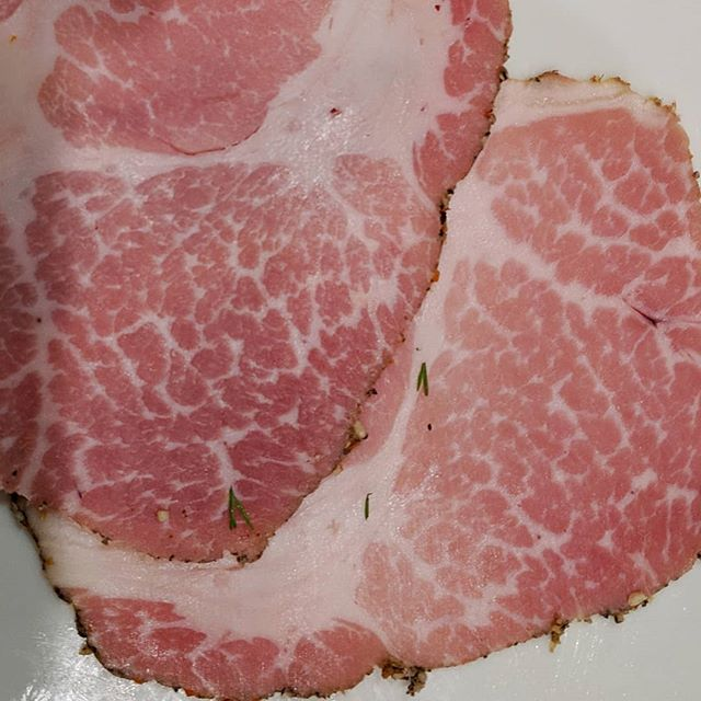 The marbling in this @olympiaprovisions  capicola is amazing!!! It's a spicy beast. Loving it for our @louisdressnerselections spring wine tasting.