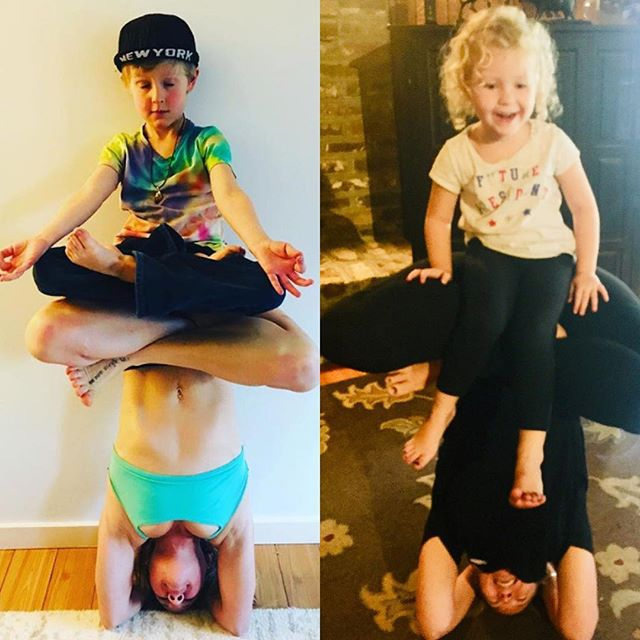 I was super inspired by @erin_evans and had to try this with my little yogi. But, as you can see, she wasn't having it. Then continued to use my butt as a slide. We will get it someday. 🤣🤣🤣 #yogawithkids #kiddingaround #littleyogi #perfectlyimperfect #play  #frey 🙏🏻 @erin_evans 📷 @broadway_flower