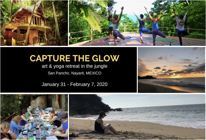 Capture the Glow: Art & Yoga Retreat in the Jungle    January 31- February 7, 2020   San Pancho, Nayarit, Mexico  Join  Mandy Wozniak  and  Nicole Curcio  in the jungle as we make time for art, yoga, community, beachtime and sunshine! We'll spend seven nights and seven days at  Tailwind Jungle Lodge  in San Pancho, Nayarit, Mexico, as we shake off the cold winter blues and Capture the Glow!  Our small retreat community will practice art and yoga together in a safe and welcoming environment. Whether you're a professional artist or yogi, or you've never picked up a paint brush, or stretched on a matt, there's sure to be something inspirational for every skill level.  The art portion of our retreat, is about making time to experiment and capturing the inspiration you'll find by unplugging and exploring new surroundings. We'll meet as a group and talk about art journaling, personal creative aspirations, and share ideas about how to get unstuck. We'll carry our sketchbooks along on our adventures and I encourage you to take notes and sketch throughout our week together. Travel journaling is a great way to document experiences and inspiration. The goal is to relax and allow yourself time to create, so you can translate your experience into new artwork at home, or have a whole journal of your sketches to remind you of your time in Mexico. Some materials will be provided for you, but a supply list will be posted as we get closer.   If you're looking for a cushy, luxury retreat, this is NOT the retreat for you, but…   If you enjoy being outdoors, close to nature and a bit of roughing it, you've come to the right place! What's roughing it in this context? Some of the casitas have compost toilets adjacent to them. There will be bugs, and lizards, and birds and critters ( coati or tejon's ) close by; you'll likely hear them foraging at night. Most of the casitas have at least one wall open, some are partially open on all sides, which means you can hear the ocean and jungle soun