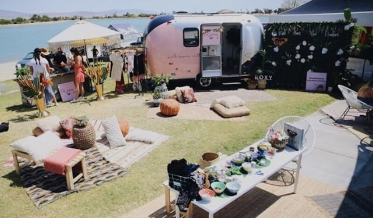 Sweetness + Surfers - The girls that got to hang at ROXY fell in love with the magic we brought to their hangout spot! Cute cushions, table placements, it was a desert dream come true
