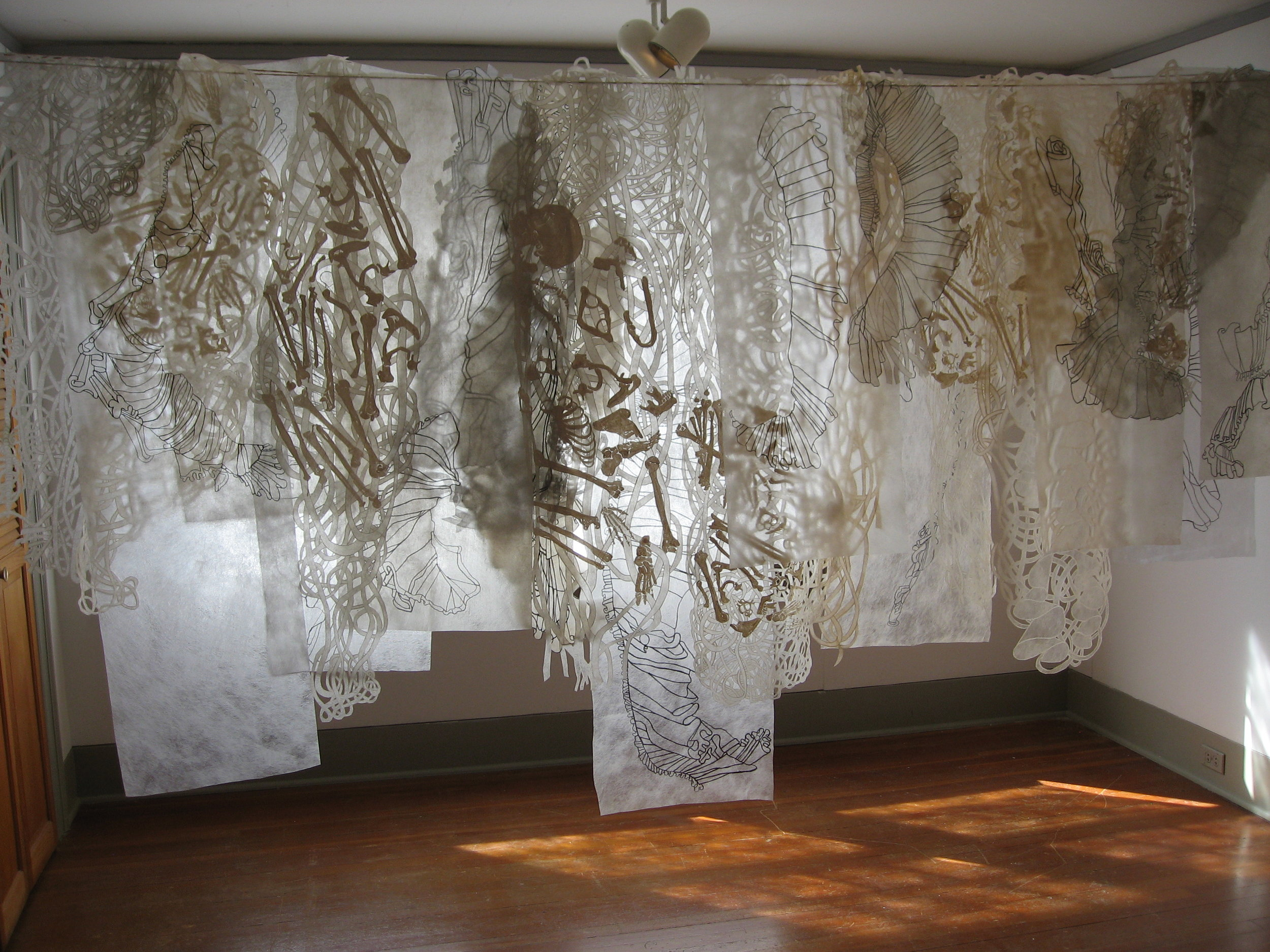 Lightly Here 8'H x 12'W x 6'D natural dyes, acrylic, ink, pins, cord, clothes pins, cut polyester