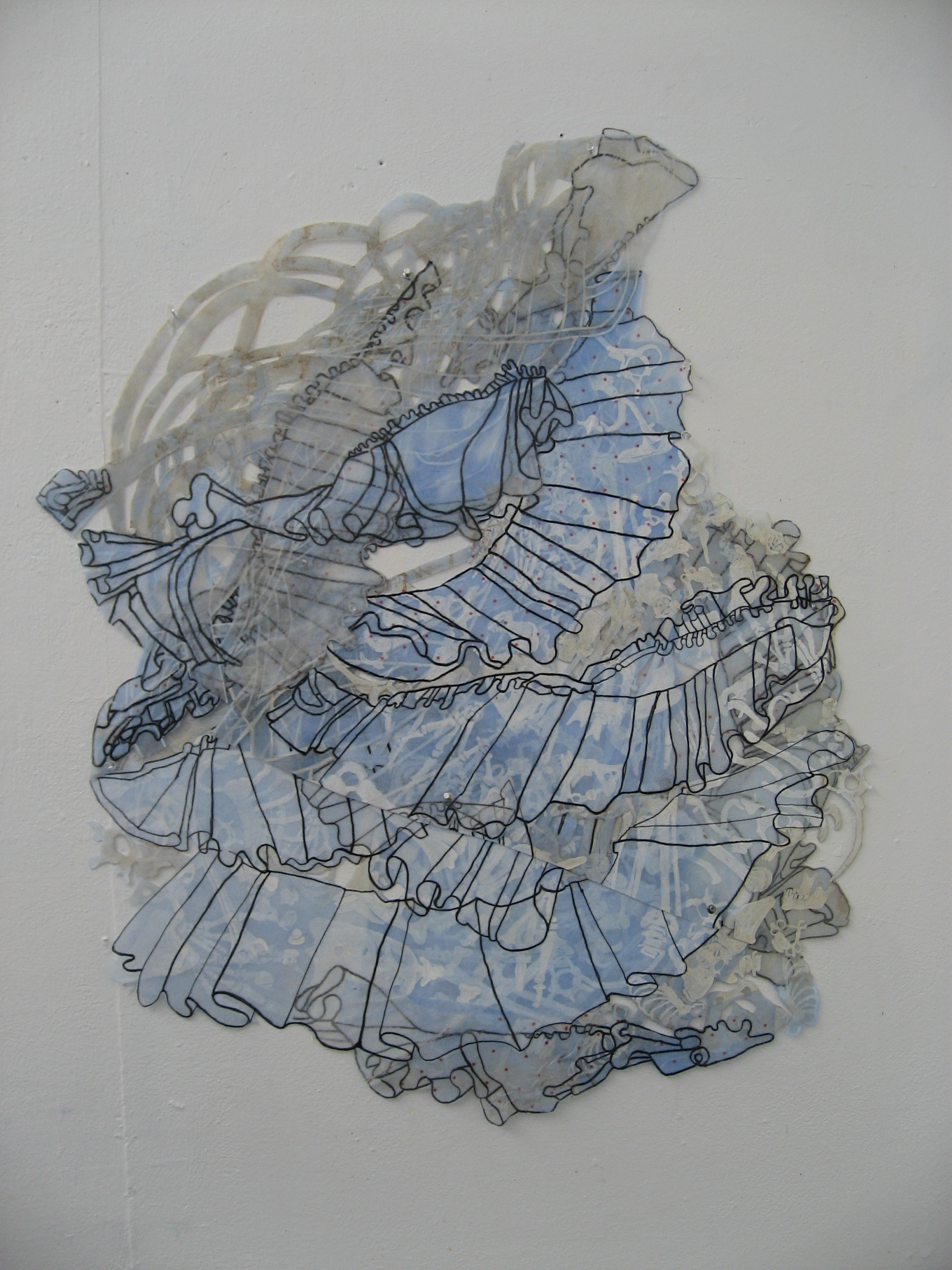 """Curl 43"""" x 34"""" natural dyes, ink, layered polyester"""