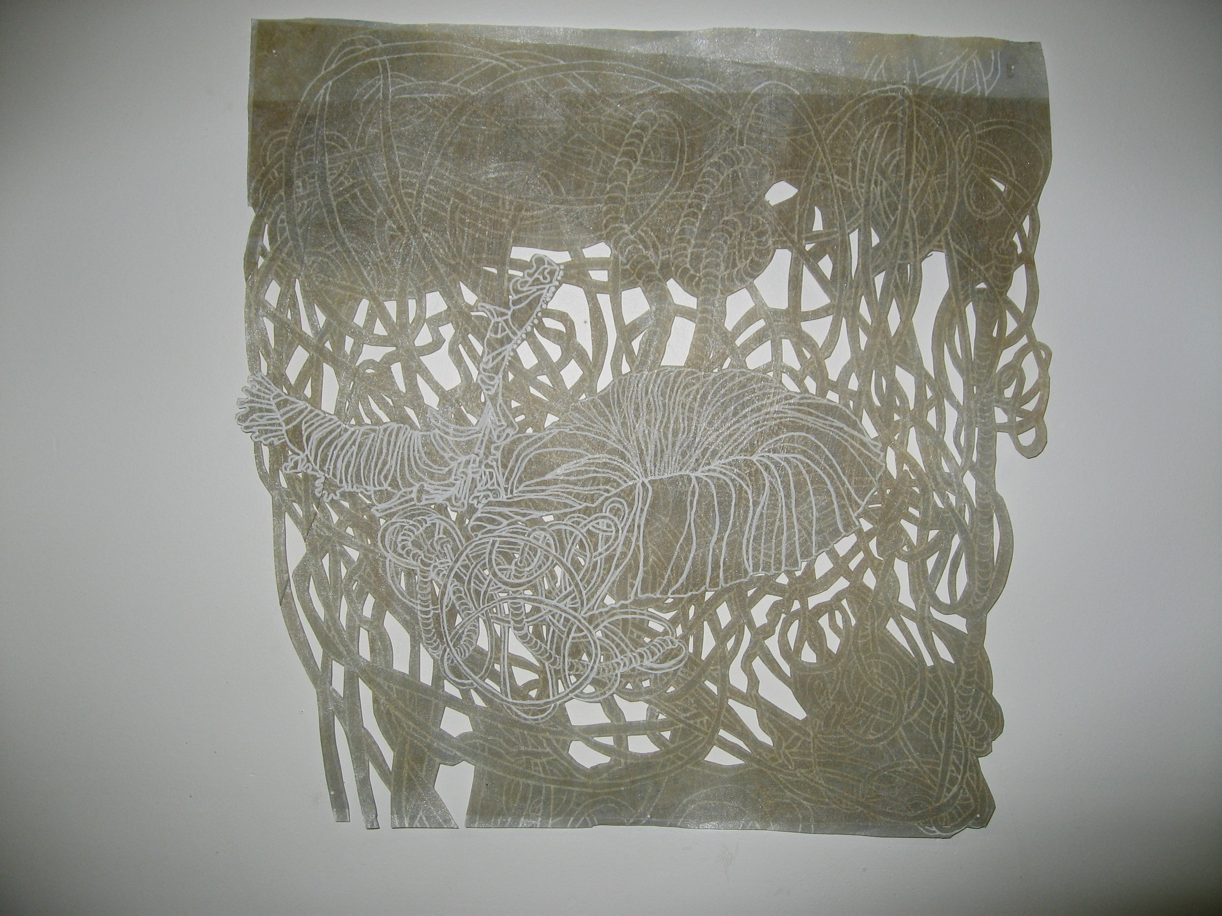"""Mound 2 17"""" x 16"""" natural dyes, ink, layered polyester"""