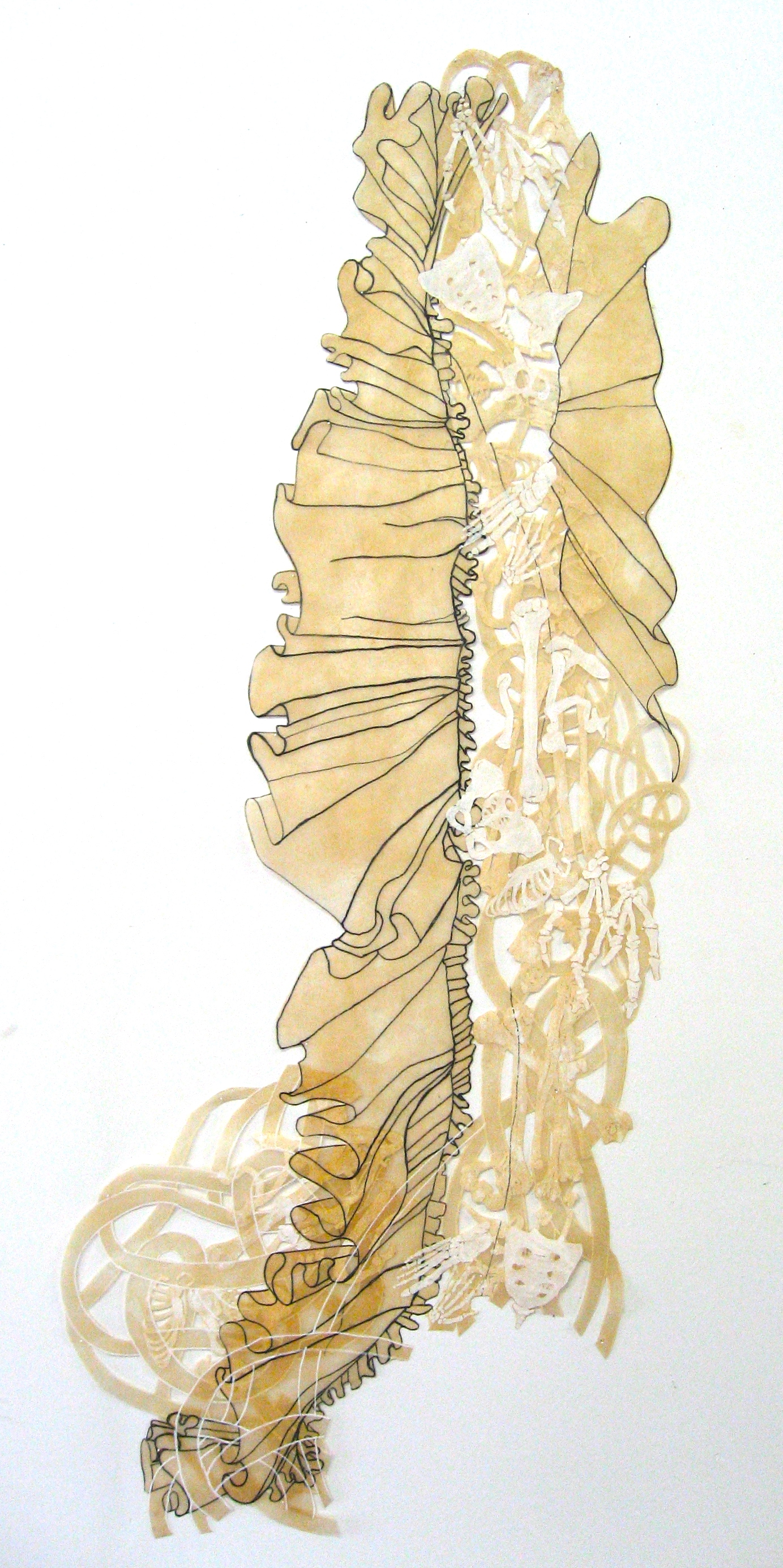 "Beach 40"" x 17"" ink, acrylic natural dyes, polyester"